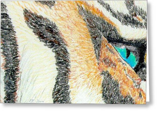 Greeting Card featuring the drawing Tiger Blue by Stephanie Grant