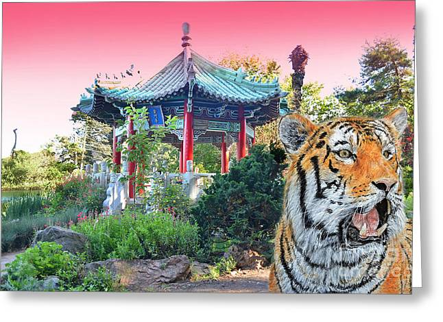 Tiger By A Chinese Pagoda Greeting Card by Jim Fitzpatrick