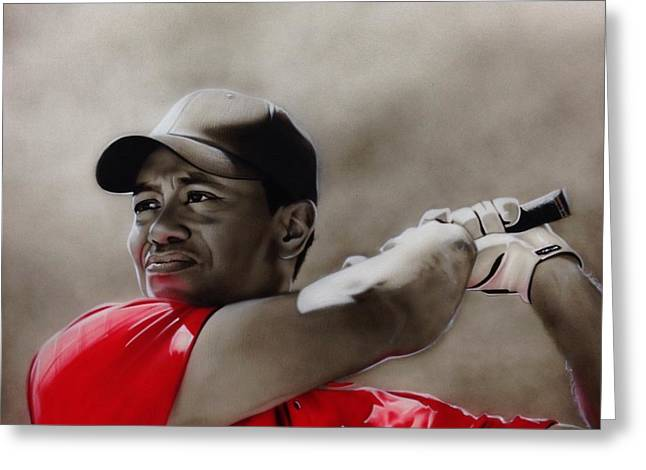 Tiger Woods - ' Tiger ' Greeting Card by Christian Chapman Art