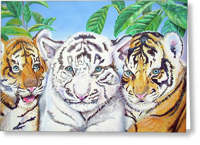 Greeting Card featuring the painting Tiger Cubs by Thomas J Herring