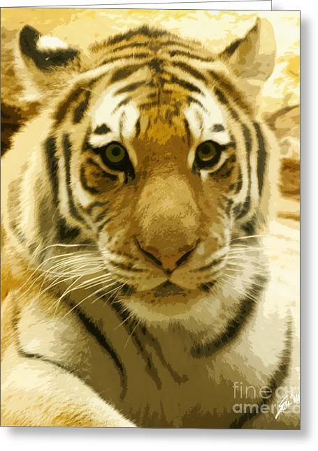 Greeting Card featuring the digital art Tiger Eyes by Erika Weber