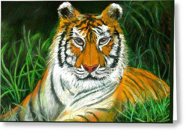 Greeting Card featuring the pastel Tiger Eyes - Pastel by Antonia Citrino