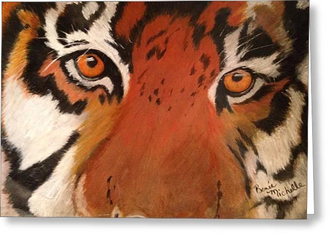 Tiger Eyes Greeting Card by Renee Michelle Wenker