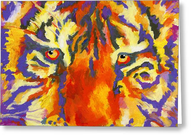 Greeting Card featuring the painting Tiger Eyes by Stephen Anderson