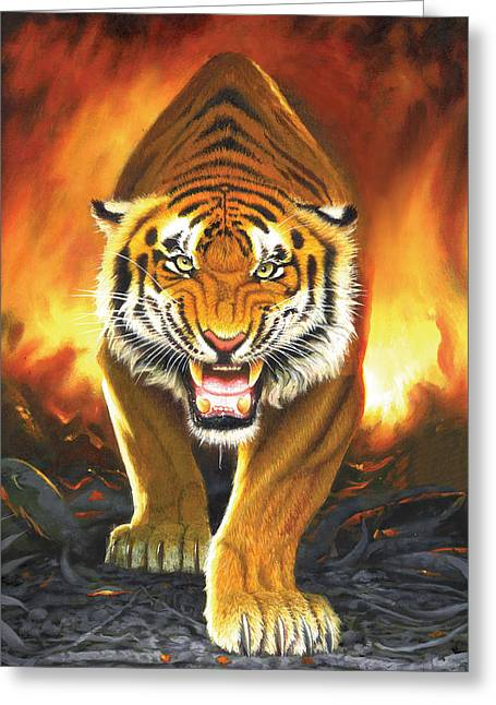 Tiger From The Embers Greeting Card by Chris Heitt
