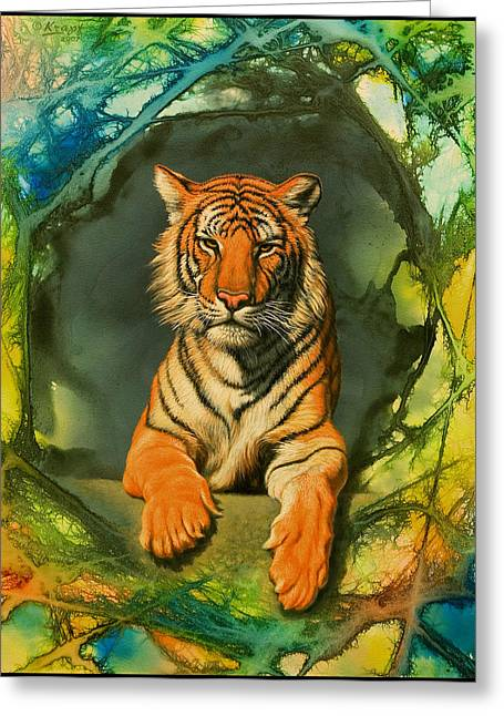 Tiger In Abstract Greeting Card by Paul Krapf