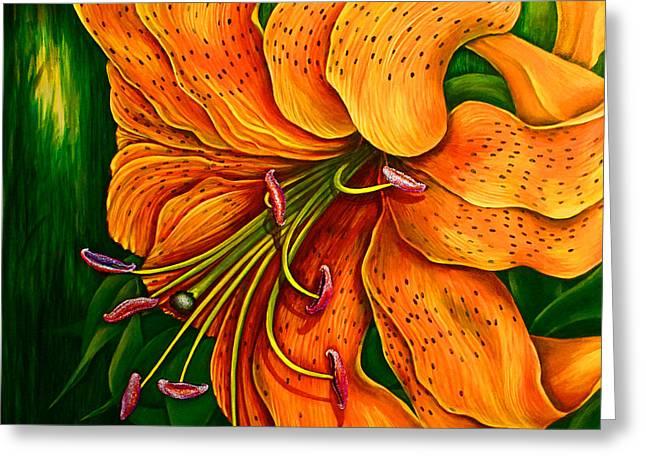 Tiger Lily Greeting Card by Debra Bucci