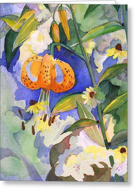 Tiger Lily In Dappled Light  Greeting Card by Nancy Watson