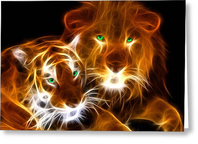 Tiger Lion  Greeting Card by Mark Ashkenazi