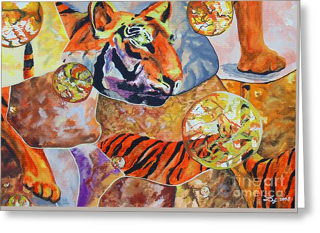 Greeting Card featuring the painting Tiger Mosaic by Daniel Janda