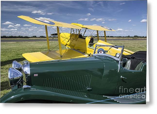 Tiger Moth And Lagonda Greeting Card by Simon Pocklington