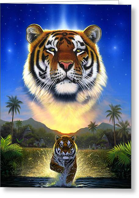 Tiger Of The Lake Greeting Card by Chris Heitt