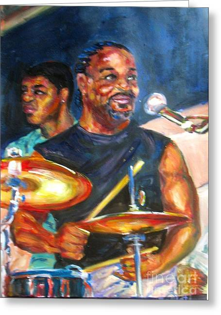 Tiger On Drums Greeting Card