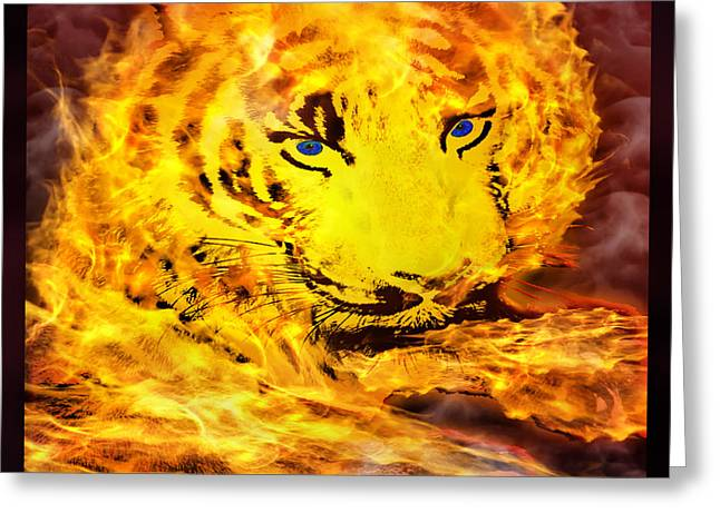 Tiger On Fire Greeting Card by Gary Keesler