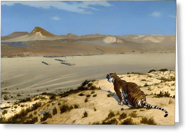 Tiger On Watch Greeting Card by Mountain Dreams