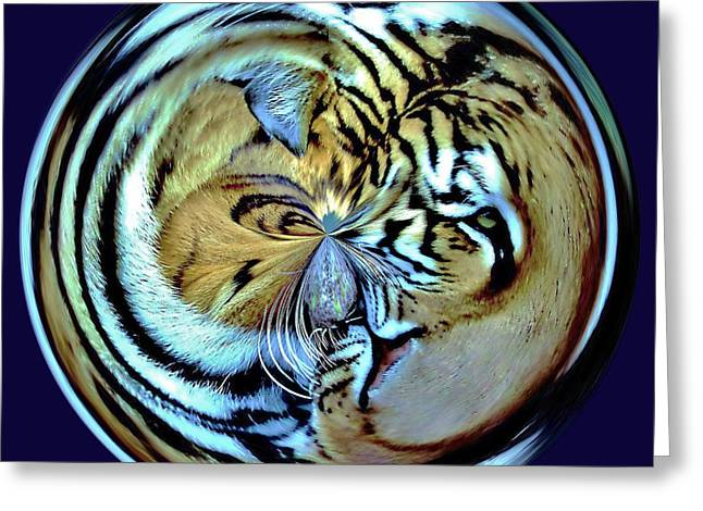 Tiger Orb Greeting Card by Paulette Thomas