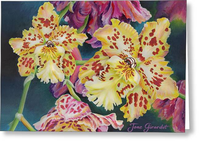 Greeting Card featuring the painting Tiger Orchid by Jane Girardot