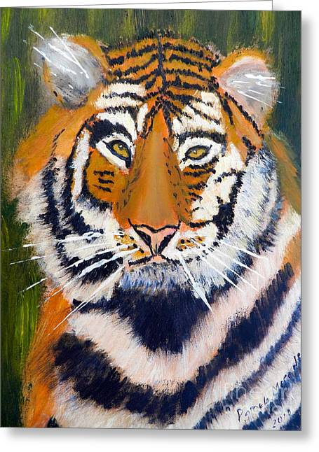 Greeting Card featuring the painting Tiger by Pamela  Meredith