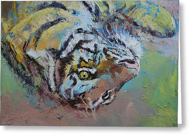 Tiger Play Greeting Card by Michael Creese