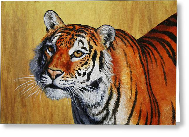 Tiger Portrait Greeting Card by Crista Forest