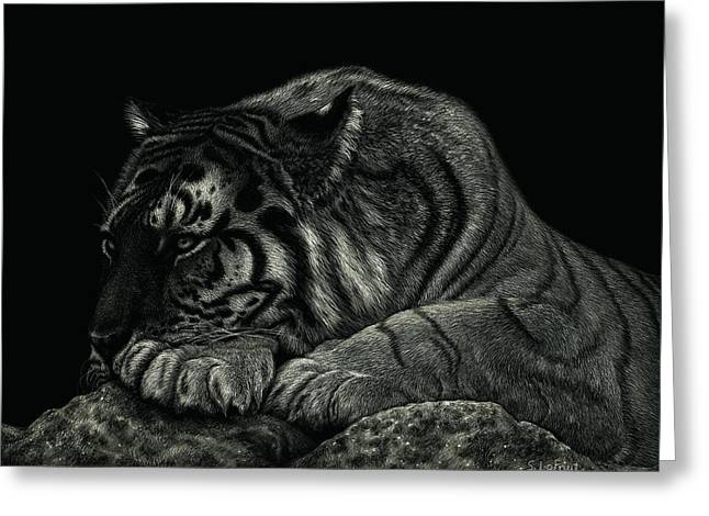 Greeting Card featuring the drawing Tiger Power At Peace by Sandra LaFaut