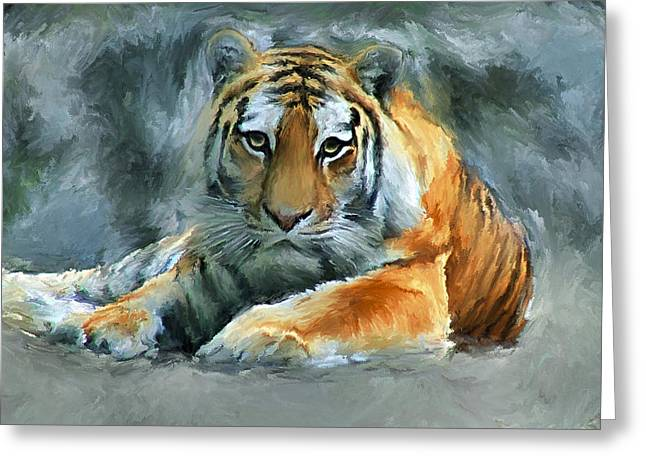 Tiger Snow Greeting Card