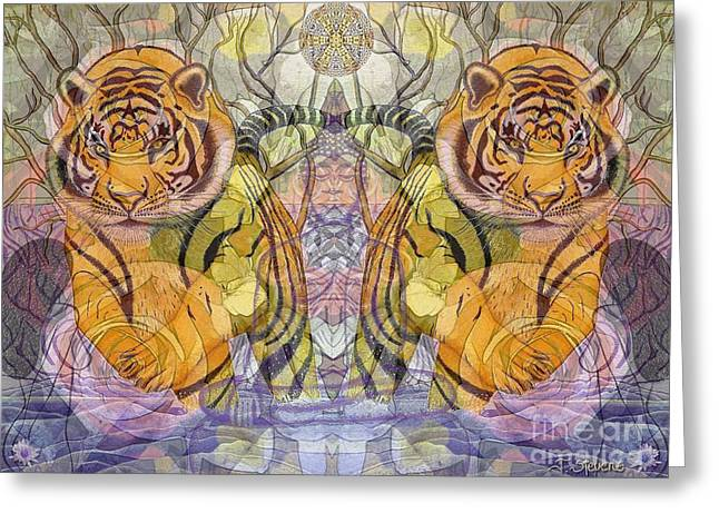 Greeting Card featuring the painting Tiger Spirits In The Garden Of The Buddha by Joseph J Stevens