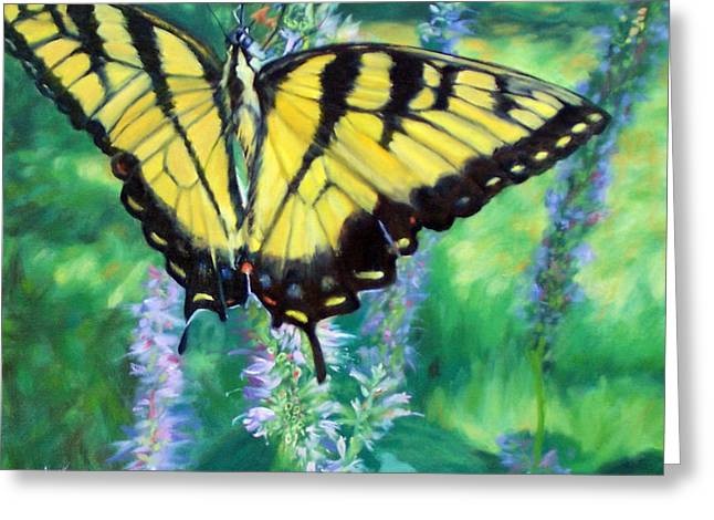 Tiger Swallowtail- Enjoying The Sweetness Greeting Card by Bonnie Mason