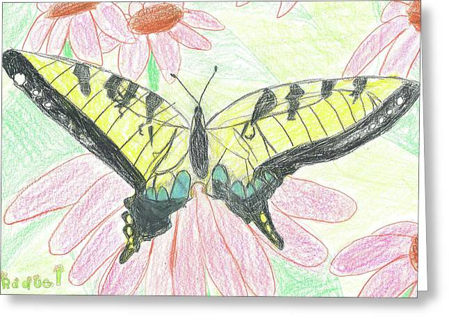 Greeting Card featuring the drawing Tiger Swallowtail Resting by Fred Hanna