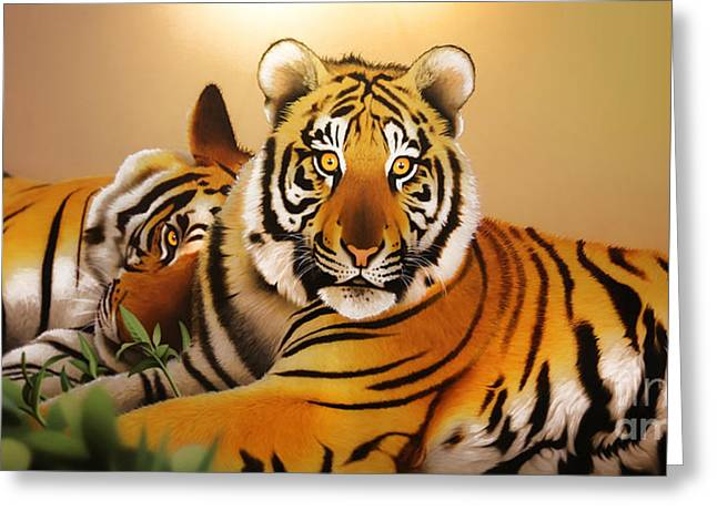 Tiger Tales Greeting Card by Shannon Rogers