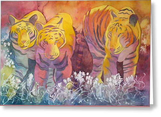 Greeting Card featuring the painting Tiger Trio by Nancy Jolley