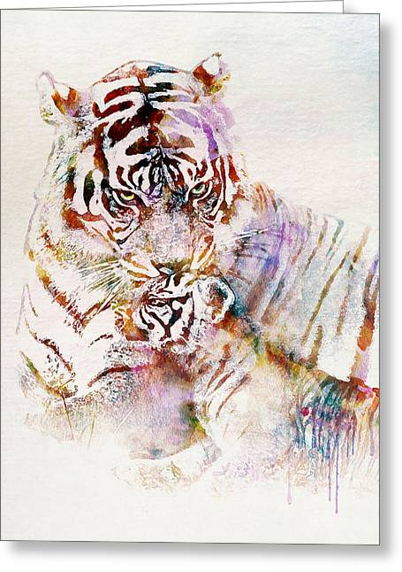 Tiger With Cub Watercolor Greeting Card by Marian Voicu