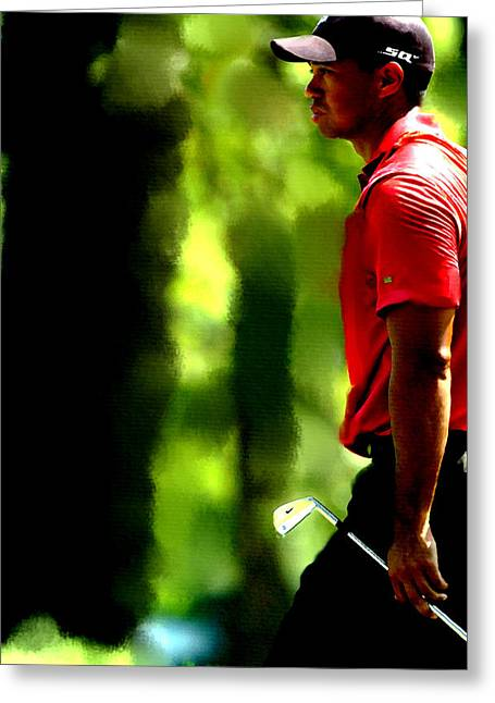 Tiger Woods 3 Greeting Card by Brian Reaves