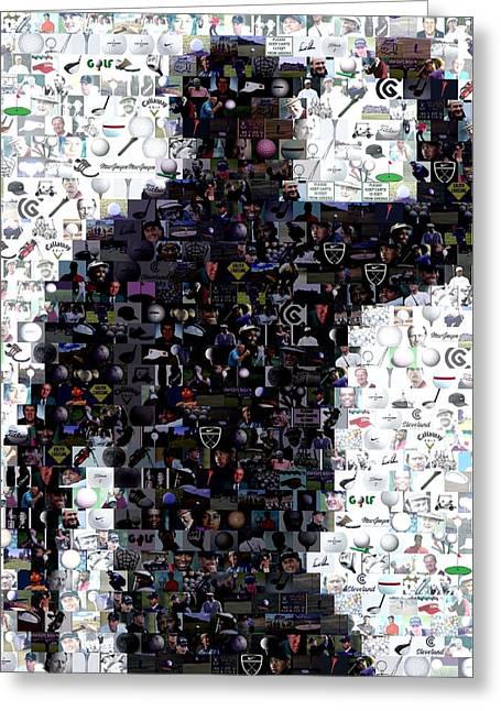 Tiger Woods Fist Pump Mosaic Greeting Card by Paul Van Scott