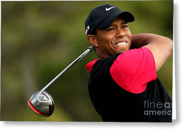 Tiger Woods Golf Greeting Card by Lanjee Chee