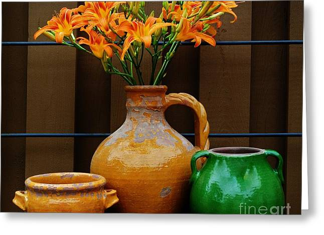 Tigerlilies And Pottery Greeting Card by Marsha Heiken