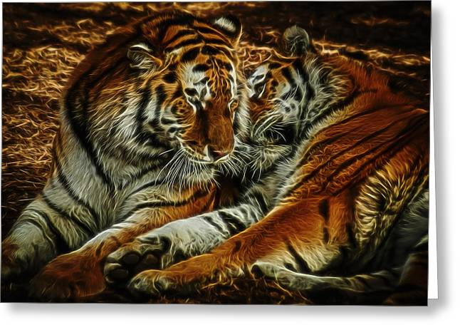Tigers Digital Art Greeting Card