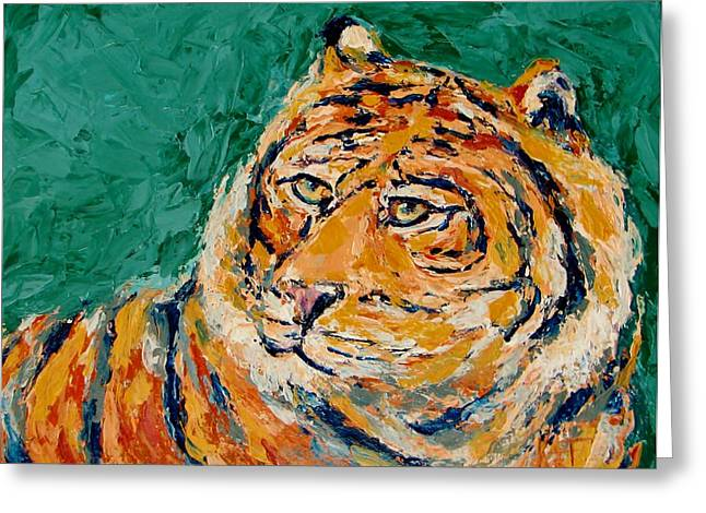 Tiger's Focus Greeting Card by Kat Griffin