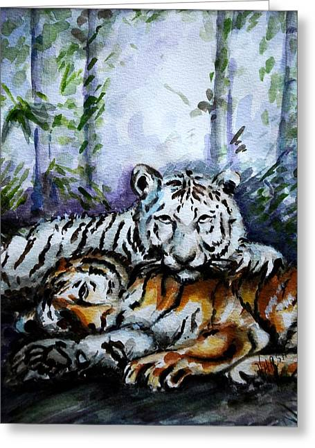 Greeting Card featuring the painting Tigers-mother And Child by Harsh Malik