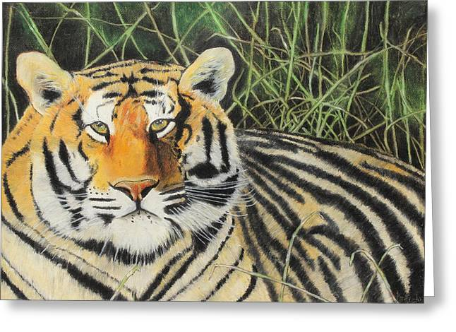 Greeting Card featuring the painting Tigress by Jeanne Fischer