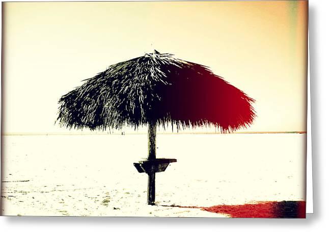 Tiki Alone Sunset Greeting Card