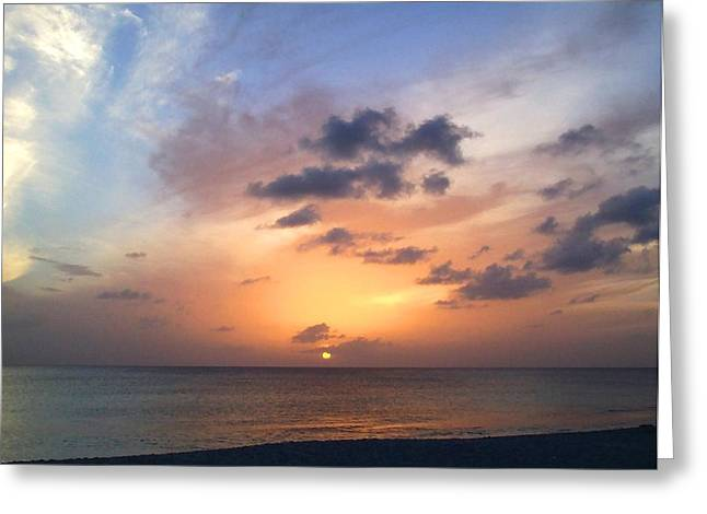 Tiki Beach Caribbean Sunset Greeting Card by Amy McDaniel
