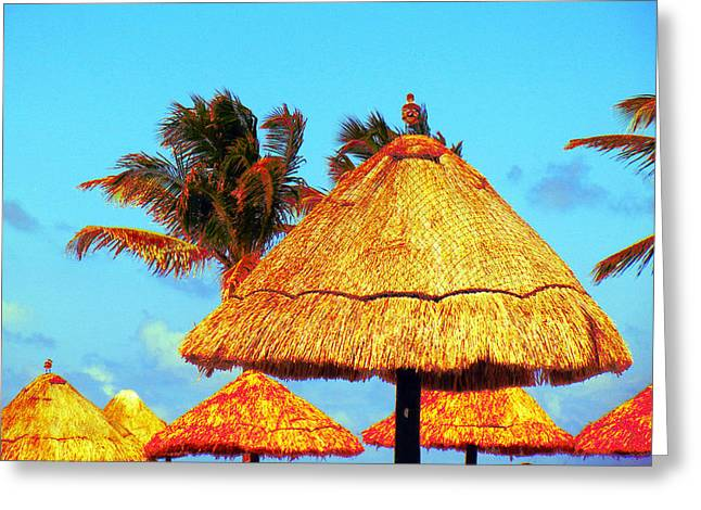 Tiki Huts Greeting Card by J Anthony
