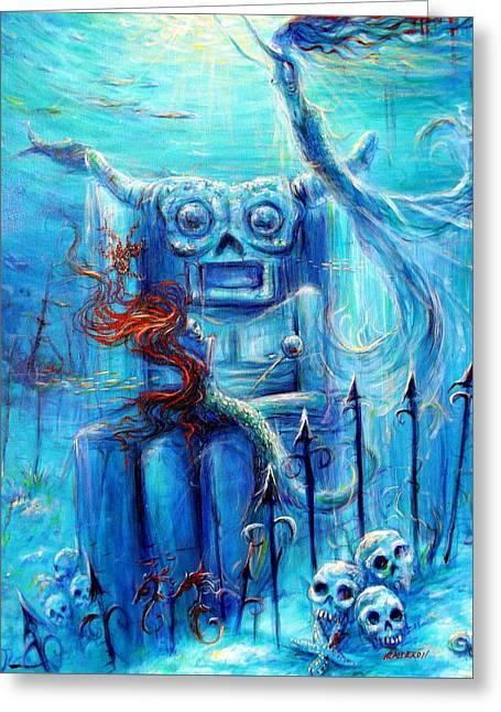 Tiki Man IIi Greeting Card by Heather Calderon