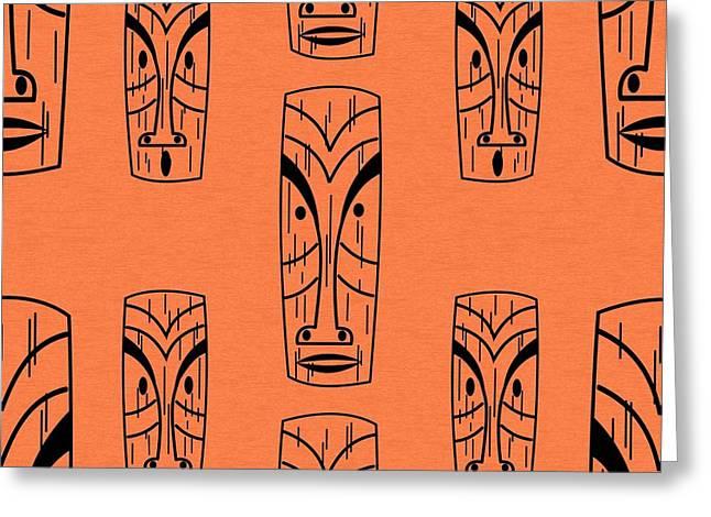Tiki On Orange Pillow Greeting Card