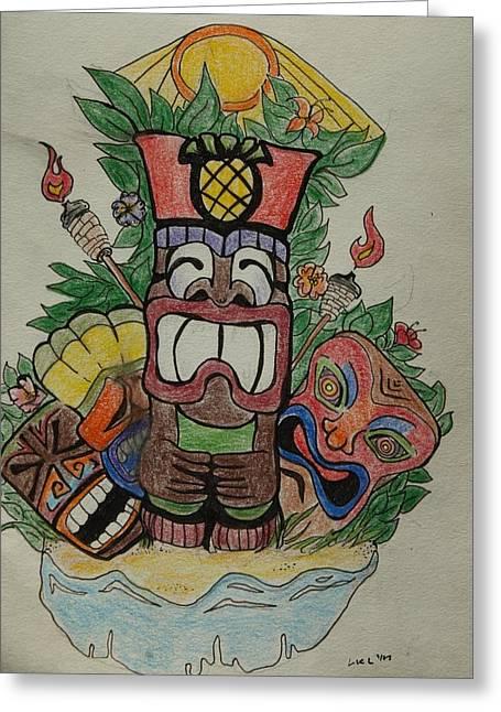 Tiki Time Greeting Card by Lorri Lanig