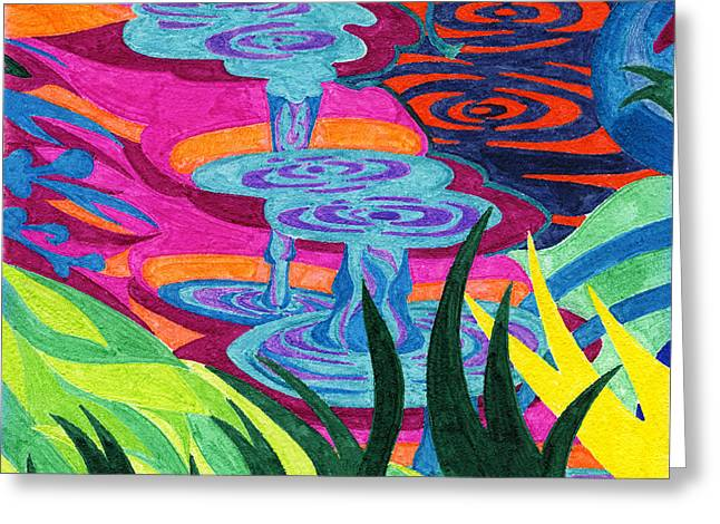 Tile 34 - Hippie Dippy Trippy Drippy  Greeting Card by Sean Corcoran