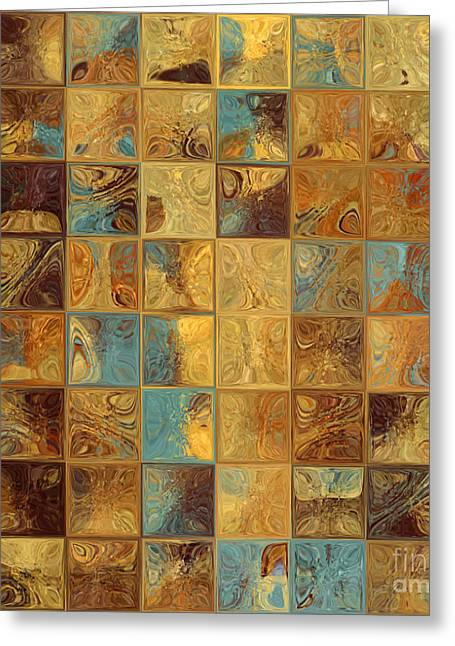 Tile Art 16 2013. Modern Mosaic Tile Art Painting Greeting Card by Mark Lawrence