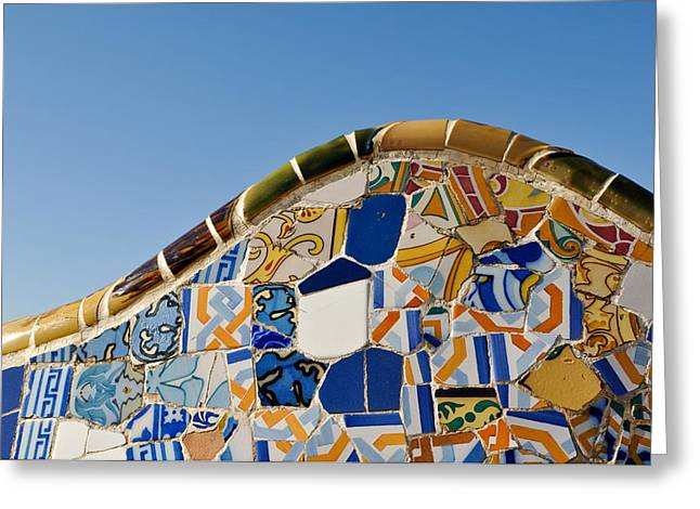 Tile Background In Park Guell In Barcelona Spain Greeting Card