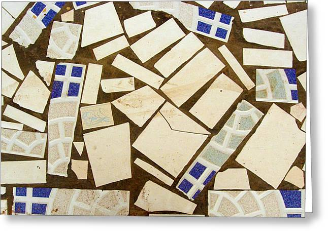 Tile Pieces In Brown Grout Greeting Card